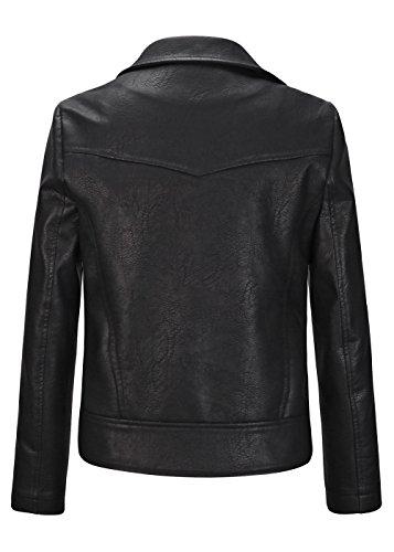 Frauen Blumenstickerei PU Lederjacke Mantel Herbst Langarm Outwear Mantel mit Reißverschluss Schwarz