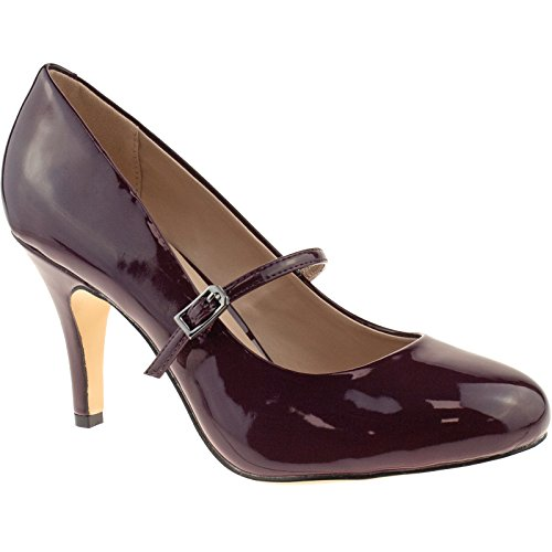 LADIES LOTUS SERENOA BORDO PATENT SHOES MARY JANE VINTAGE RETRO HEELS 50321BR-UK 3 (EU 36)