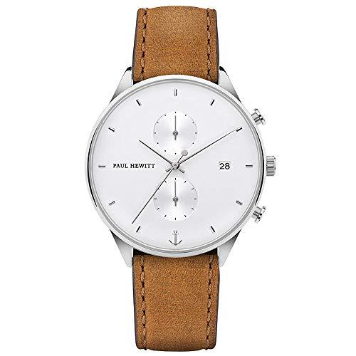 Paul Hewitt Herren Chronograph Quarz Uhr mit Leder Armband PH-C-S-W-49M