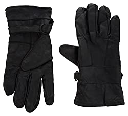 Zacharias Stylish Genuine Leather Gloves for boy at lowest price - Black