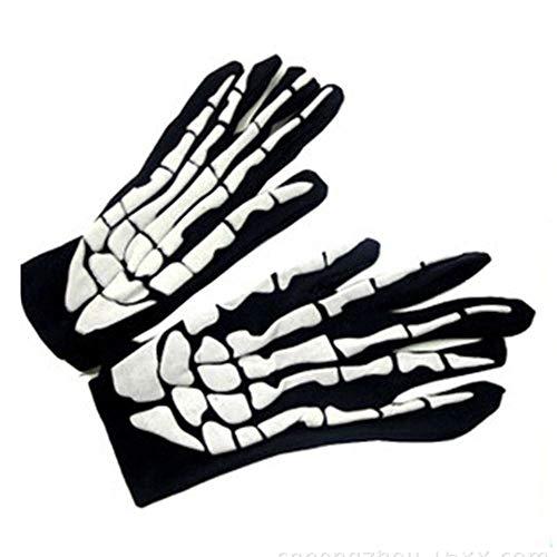EROSPA® Skelett / Skeleton / Knochen Handschuhe Kurz - Damen / Herren - Karneval / Fasching / Halloween - 1 Paar - Schwarz / Weiß