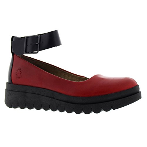 Fly London Womens HAEM774FLY Leather Shoes Red / Black