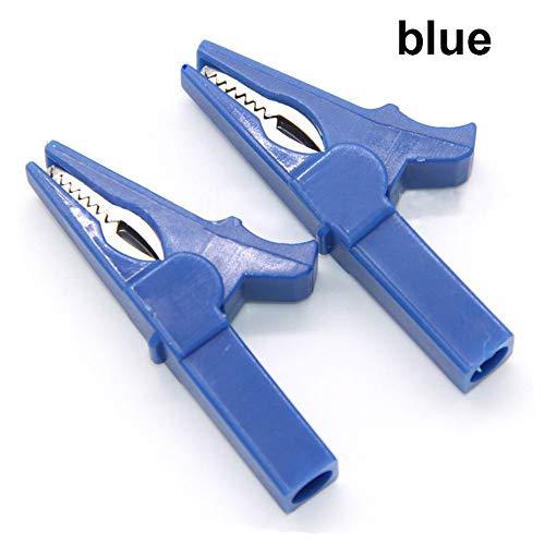 jumpeasy 5pcs 55MM De plástico Coche auto Banana Plug Multímetro Prueba de la batería Pinza de cocodrilo Sondas de cable Alligator clip (5pcs,blue)
