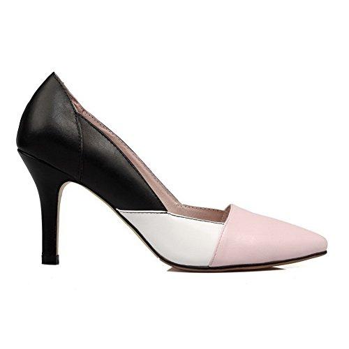 AllhqFashion Femme Tire Pointu à Talon Haut Pu Cuir Couleurs Mélangées Chaussures Légeres Rose