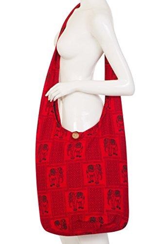ThaiUK Damen Hippie-Tasche mit Schulterriemen, Boho-Stil, 100 % Baumwolle Indic 2 Red