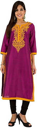 Folklore Women's Straight Kurta (FOKU001706_Pink_M)  available at amazon for Rs.679