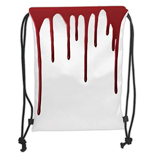 (DANCENLI Drawstring Sack Backpacks Bags,Horror,Flowing Blood Horror Spooky Halloween Zombie Crime Scary Help me Themed Illustration,Red White Soft Satin,5 Liter Capacity,Adjustable String Closur)