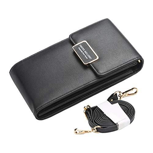 Lbsel Damen Handtasche/Brieftasche aus PU-Leder mit einer Schulter, diagonale von 1 Seite, einfach - Schwarz - Mittel - Leder Ein-schulter Brieftasche