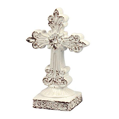 Stonebriar Distressed Weiß Keramik Kreuz Ständer, klein (Keramik-kreuz Kleine)