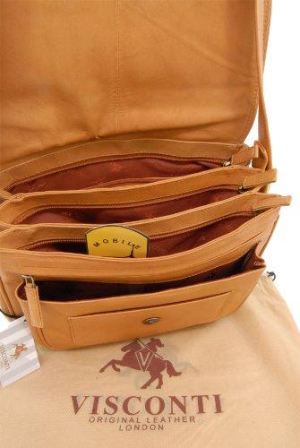"""Visconti Satteltasche/Handtasche """"Atlantic"""" - mit Überschlag - Leder - (2195) Größe: B: B: 28 cm, H: 22 cm, T: 14,5 cm Sandfarbenes"""