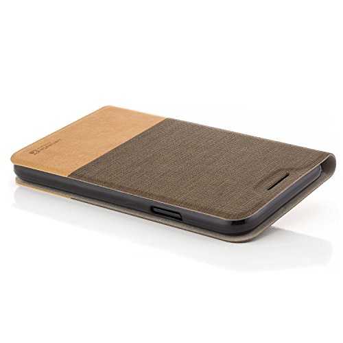 zanasta Designs Tasche Apple iPhone X Hülle Flip Case Slim Schutzhülle Handytasche mit Kartenfach, Standfunktion | Schwarz Hellbraun