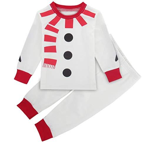 Mombebe Baby Jungen Weihnachten Kostüm Säugling Schneemann Schlafanzug Pyjamas Set Langarm (Weiß, 12-18 Monate)