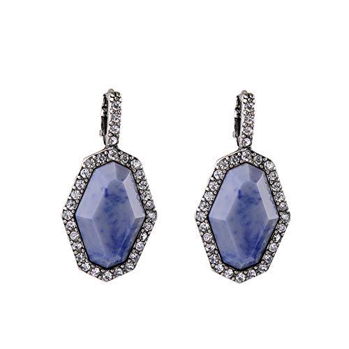 SupKey.L Geometrische Stein Ohrringe Neue Marke Indien Schmuck Antik Gold Silber Farbe Frauen Ohrringeblau Ohrringe (Gold Ohrringe Aus Indien)