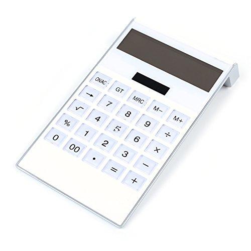Badalink Solar Technisch-wissenschaftlicher Taschenrechner Rechner Kalkulator Tischrechner mit Natürlichem Display(Solar+Batterie) - Weiß