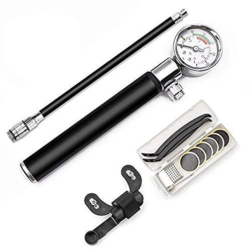 Fahrradpumpen mit Manometer, Tragbare Mini Fahrradpumpe Ballpumpe für BMX Fahrrad Rennrad Mountainbike Set B