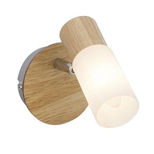 Brilliant 51410/50babsan foco perchero (madera, metal/madera/plástico, E14, 3W, claro/blanco