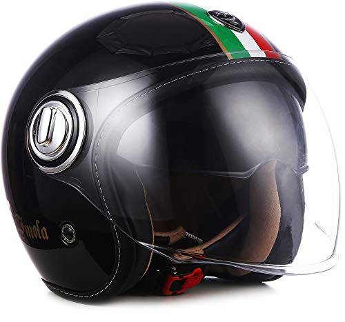 "Soxon® SP-888 ""Imola Black"" · Jet-Helm · Motorrad-Helm Roller-Helm Scooter-Helm · ECE Sonnenvisier Schnellverschluss SlimShell Tasche M (57-58cm)"