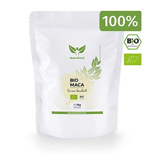NaturaForte Bio Maca-Wurzel-Pulver 1kg, Reich an Vitamine, Eiweiß, Aminosäuren und Protein für mehr Ausdauer und Energie, Steigerung der Manneskraft, Testo Booster, Potenz und Libido steigern, Rohkost -