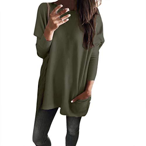 GOKOMO Damen Freizeit Tshirt lose Oberteile Damen asymmetrisch Sweatshirt Pullover Bluse Oversized top t Shirt Jumper Oversize Tops Bluse mit Taschen Damen(Armeegrün,Small) -