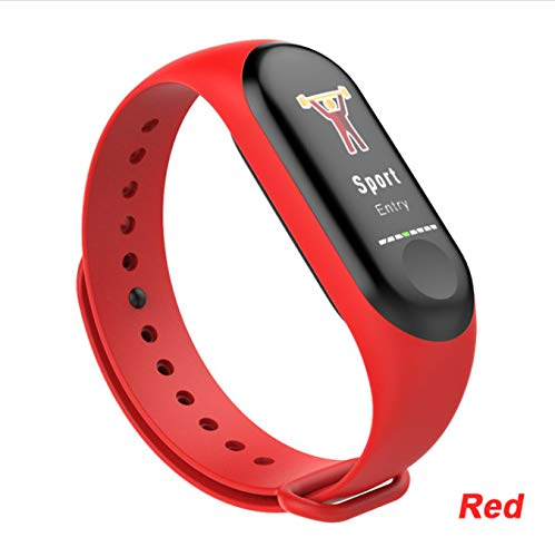 hzznshbfzh Smart Armband Wasserdicht Fitness Tracker Pk M3 Plus Blutdruck Herzfrequenzmonitor Vs Mi Band 3 Smart Ban rot