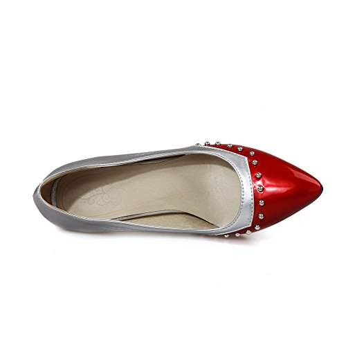 AllhqFashion Femme Pu Cuir Mosaïque Tire Pointu à Talon Haut Chaussures Légeres Rouge