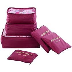 Bolsas Organizadores para Maletas de Viaje | Shopper Joy 6 Bolsas de Equipaje para Ropa 3 Cubos de Embalaje y 3 Bolsa de Lavandería para Vacaciones Camping -Vino Rojo 1