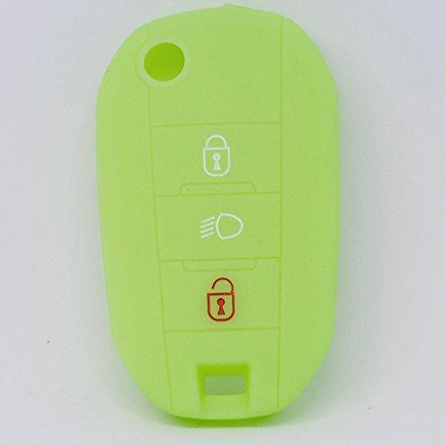 Soft Case Schutz Hülle Auto Schlüssel PEUGEOT 208 308 5008 2008 Expert Citroen C3 C4 Spacetourer Klappschlüssel / Farbe: Fluoreszierend Grün (leuchtet im Dunkeln!)
