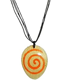 DollsofIndia Coconut Shell Pendant With Cord - Cord Length - 18.5 Inches & Pendant - 3 Inches (GO71-mod) - Blue