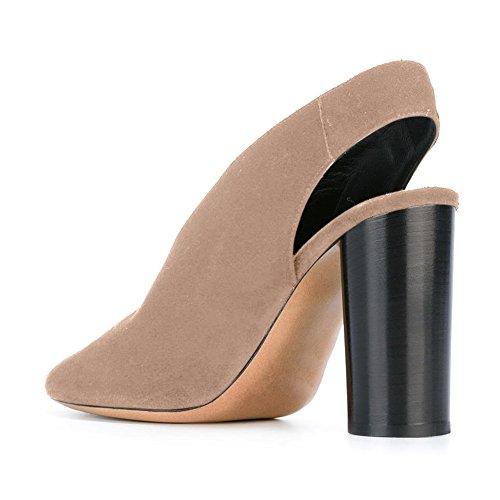 Damen Pumps Spitze Zehen High-Heel Blockabsatz Rutsch Samt Nude