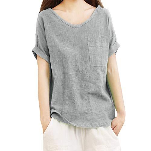 Bluse Damen Mädchen Kurzarm T Shirt Aus Baumwolle Und Leinen Top Bluse (Red Hot Chili Peppers Baby)