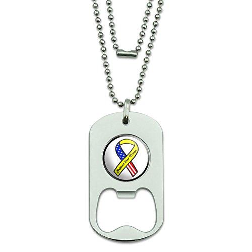 Unterstützen Unsere Truppen Band–Gelb und Flagge auf weiß Dog Tag Flaschenöffner (Truppen Dog Tag)