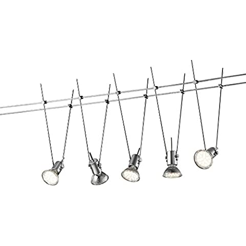 LED-sistema de cable en colour titanio con 5 puntos de luz, longitud de 5 M, incluye 5 x MR16 LED 3 vatios, 3000°K, de cálida luz blanca + extra 1 x GU10 LED de bombillas para el uso al aire libre