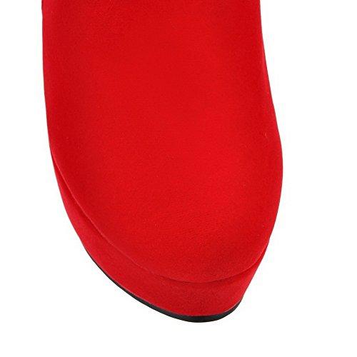 VogueZone009 Donna Punta Tonda Plastica Puro Bassa Altezza Tacco Alto Stivali Rosso