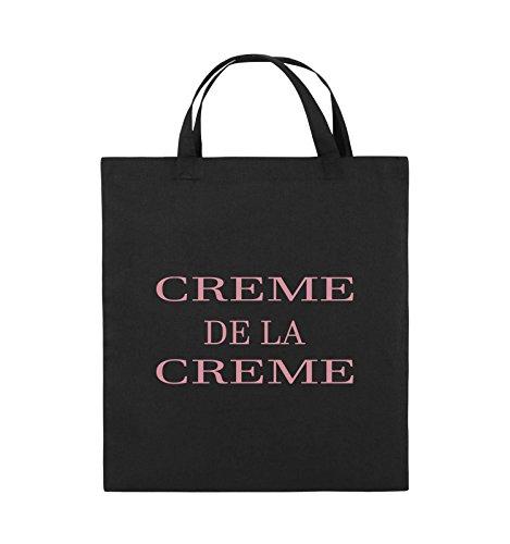 Comedy Bags - CREME DE LA CREME - Jutebeutel - kurze Henkel - 38x42cm - Farbe: Schwarz / Silber Schwarz / Rosa