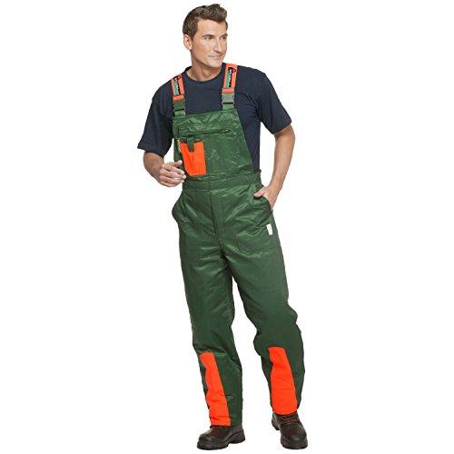 WOODSafe Schnittschutzhose Klasse 1, kwf-geprüfte Forsthose, Latzhose grün/orange, Herren - Waldarbeiterhose Größe 52