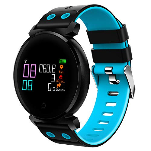 JiaMeng Smartwatches - K2 Schermo a colori Frequenza cardiaca Sport pressione IP68 Smartwatch per iOS Android Smart watch blu