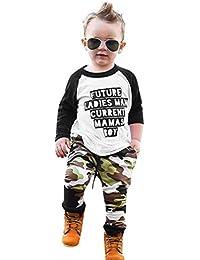 K-youth Ropa Bebe Niño Otoño Invierno Infantil Recien Nacido Bebé Niño Camisas de Manga Larga Camisetas Letra Blusas + Camuflaje Pantalones Largos Conjuntos De Ropa