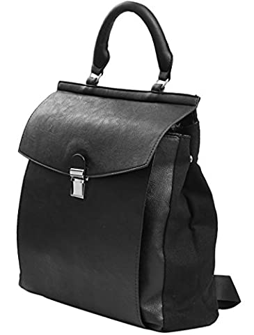 sourcingmap® Lady Push Lock Closure Imitation Leather Backpack
