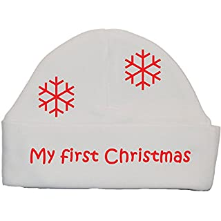 Acce Products My First Christmas Baby Beanie Hat/Cap xmas - 0-3 Months - White