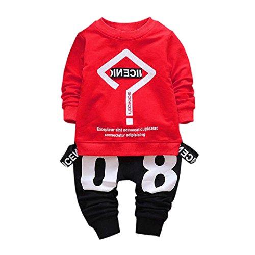 leinkind Kinder Zwillinge Säugling Baby Mädchen Jungen Romper + Langarm Brief Print Tops + Cap Bekleidung Outfit Set (90, Rot) (Sie Alle Feiertage In Ordnung)