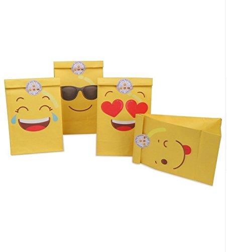 12 Emoticons Tüten mit Aufklebern für Einladungen, Partys, Süßigkeiten, Hochzeiten, Kinder, Geschenke, Schaufenster, Basteln von CHIPHOME