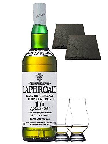 Laphroaig 10 Jahre Islay Single Malt Whisky 0,7 Liter + 2 Glencairn Gläser + 2 Schieferuntersetzer quadratisch ca. 9,5 cm