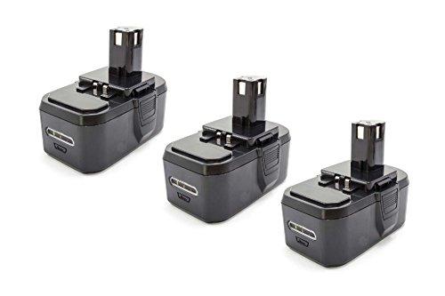 vhbw 3x NiMH Akku 1300mAh (18V) für Elektrowerkzeug Werkzeug Powertools Tools Ryobi CJSP-180QEO, CMD-1802, CMD-1802M, CMI-1802, CMI-1802M