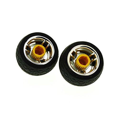 2 x Lego Duplo Toolo Rad schwarz Felge chrom silber gelb Räder Reifen mit Kreis und Trapez Profil Schraube mit Schlitz 31351 31350c01
