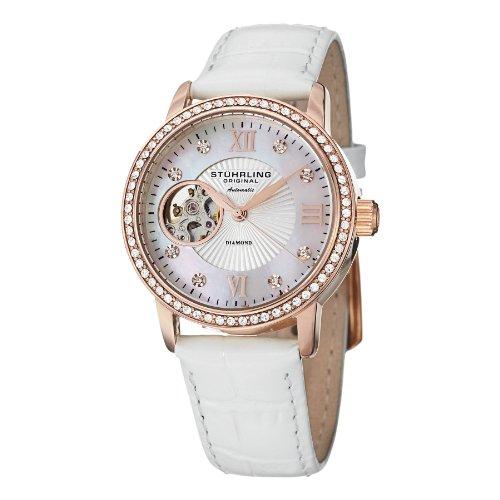 Stührling Original 710.03 - Reloj analógico para mujer, correa de cuero, color blanco
