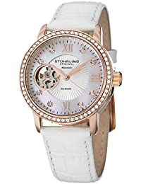 Stuhrling Original Memoire Women's Automatic Watch with Mother Of Pearl Dial Analogue Display and White Leather Strap 710.03