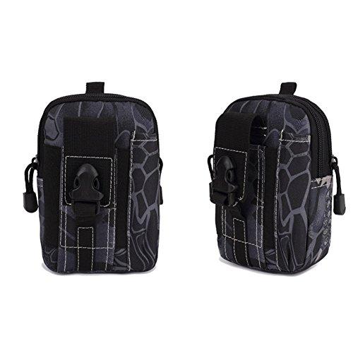 EULAGPRE 1x Männer Military Tactical Wasserdichte Taille Sporttaschen Geldbörse Mini Outdoor Taschen MBlack