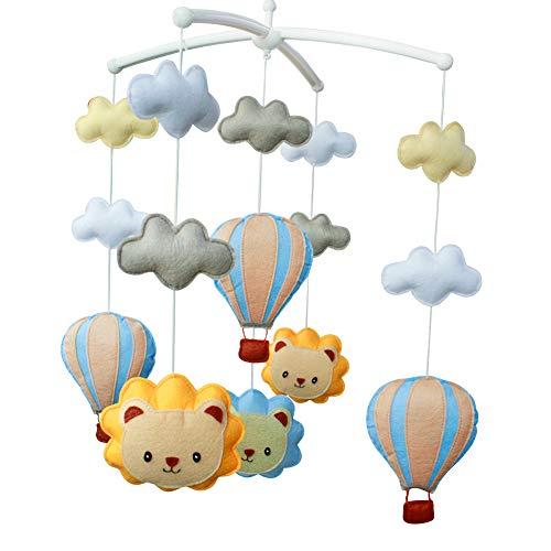 [Netter Löwe, Heißluftballon] Musik mobilen Babykrippe drehbaren Bettglocke Anne Music Box