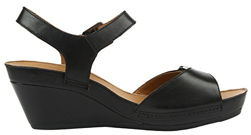 Clarks Rusty Art, Sandales femme Noir (Black Leather)