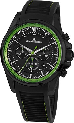 Jacques Lemans Liverpool Homme 44mm Bracelet Silicone Quartz Montre 1-1799V